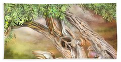 Bath Towel featuring the mixed media Spirit In The Olive Tree by Carol Cavalaris