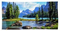Spirit Island On Maligne Lake Hand Towel