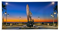 Spirit Of Imperial Beach Surfer Sculpture Hand Towel