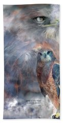Spirit Of The Hawk Hand Towel by Carol Cavalaris