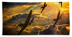 Hand Towel featuring the photograph Spitfire Attack by Chris Lord
