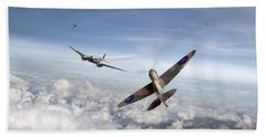 Hand Towel featuring the photograph Spitfire Attacking Heinkel Bomber by Gary Eason