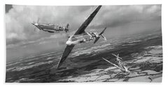 Bath Towel featuring the photograph Spitfire Tr 9 Fighter Affiliation Bw Version by Gary Eason