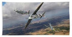Bath Towel featuring the photograph Spitfire Tr 9 Fighter Affiliation by Gary Eason