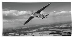 Bath Towel featuring the photograph Spitfire Tr 9 On A Roll Bw Version by Gary Eason