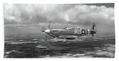 Bath Towel featuring the photograph Spitfire Tr 9 Sm520 Bw Version by Gary Eason