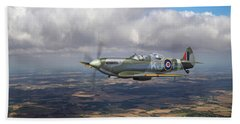 Bath Towel featuring the photograph Spitfire Tr 9 Sm520 by Gary Eason
