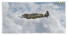 Bath Towel featuring the digital art  Spitfire - Us Eagle Squadron by Pat Speirs
