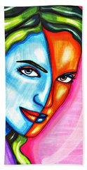 Split Personality Woman Abstract Drawing Bath Towel