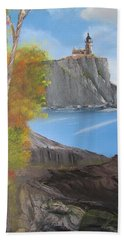 Split Rock Lighthouse Minnesota Bath Towel by Thomas Janos