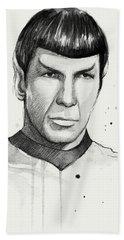 Spock Watercolor Portrait Bath Towel