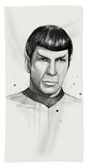 Spock Watercolor Portrait Bath Towel