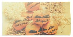 Spooky Halloween Oranges Bath Towel