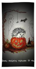 Spooky Hedgehog Halloween Hand Towel by Denise Fulmer