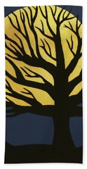 Spooky Tree Yellow Hand Towel