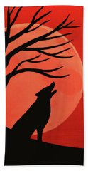 Spooky Wolf Tree Hand Towel