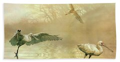 Bath Towel featuring the photograph Spoonbill Morning by Brian Tarr