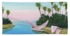 Spoonbills In Flight Bath Towel
