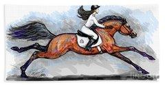 Sport Horse Rider Hand Towel