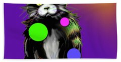 Bath Towel featuring the painting Spot Dizzycat by DC Langer