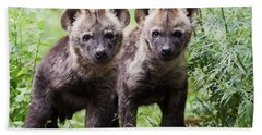 Spotted Hyena Cubs I Hand Towel