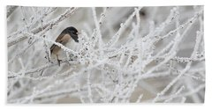 Spotted Towhee In Winter Hand Towel