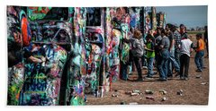 Hand Towel featuring the photograph Spray Paint Fun At Cadillac Ranch by Randall Nyhof