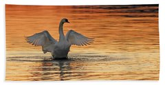 Spreading Her Wings In Gold Hand Towel by Randall Branham
