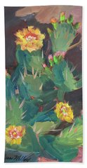 Bath Towel featuring the painting Spring And Prickly Burst Cactus by Diane McClary