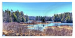 Hand Towel featuring the photograph Spring Scene At The Tobie Trail Bridge by David Patterson