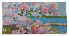 Hand Towel featuring the painting Spring Blooms By Sea by Francine Frank