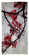 Bath Towel featuring the photograph Spring Bloosom In Maldives. Flamboyant Tree II. Japanese Style by Jenny Rainbow