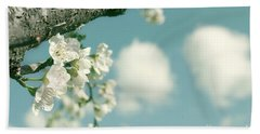 Spring Blossoms And Puffy Clouds Hand Towel