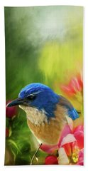 Spring Blue Jay Bath Towel