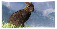 Hand Towel featuring the digital art Spring Bunny by Daniel Eskridge