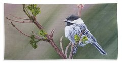 Spring Chickadee Hand Towel by Wendy Shoults