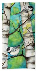 Spring Chickadees Bath Towel by Inese Poga