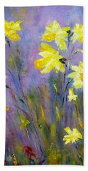 Hand Towel featuring the painting Spring Daffodils by Claire Bull