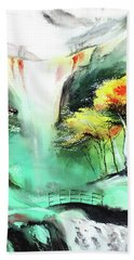 Hand Towel featuring the painting Spring Fall by Anil Nene