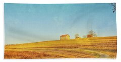 Hand Towel featuring the digital art Spring Farm And Fields by Randy Steele