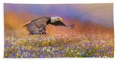 Spring Flight Bald Eagle Art Hand Towel
