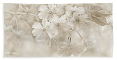 Hand Towel featuring the photograph Spring Flower Blossoms Soft Brown by Jennie Marie Schell