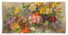 Spring Flowers And Poole Pottery Bath Towel
