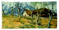 Hand Towel featuring the painting Spring In Poland by Henryk Gorecki