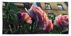 Spring In The City - Garden Of Roses Bath Towel by Miriam Danar