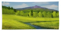 Hand Towel featuring the painting Spring Meadow Brook by Frank Wilson