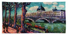 Spring On The Banks Of The Rhone - Lyon France - Modern Impressionist Oil Painting By Mona Edulesco Bath Towel