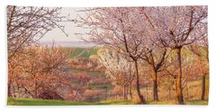Hand Towel featuring the photograph Spring Orchard With Morring Sun by Jenny Rainbow