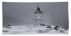 Spring Point Ledge Lighthouse Blizzard Bath Towel