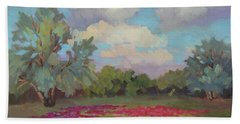 Bath Towel featuring the painting Spring Poppies by Diane McClary